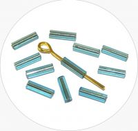 Czech rocailles bugles, light blue with silver lined, size 6,7x2mm, packing 25g