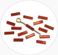 Czech rocailles bugles, light red, size 6,7x2mm, packing 25g