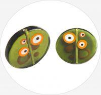 Ručně vinutá perle, zelená s očima 30 mm, balení po 1ks