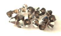 Strojně broušené korálky - sluníčko, kouřový topaz s labradorem, 4mm, balení 20 ks