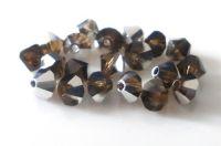 Machine cut beads -  sun bead, smoke topas with labrador halfdecor, 4mm, packing 20 pcs