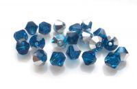 Strojně broušené korálky - sluníčko, capri blue s labradorem, 4mm, balení po 20 ks