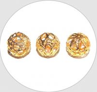 Iron hollow beads - gold, 17mm, packing 5 pcs