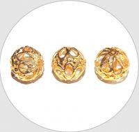 Kovové filigránové korálky - pozlacené, 17mm, balení po 5 ks
