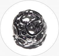 Iron hollow beads - hematite, 17mm, packing 5 pcs