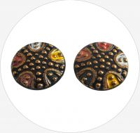 Glass button, black-gold-colors, flat bottom, 27mm, packing 2 pcs
