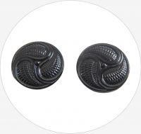 Glass button, black, 23mm, packing 2 pcs