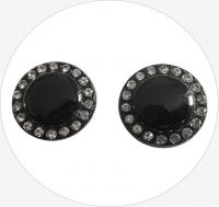 Glass button, black, 20mm, packing 2 pcs