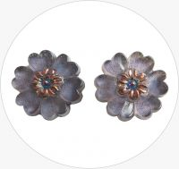 Glass button, purple flower, 22mm, packing 2 pcs