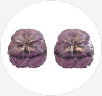 Glass button, lila, 20x19mm, packing 2 pcs