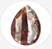 Skleněné kameny,  tm. topaz hruška s dírkou na vrchu, 18x13mm, balení po 1ks