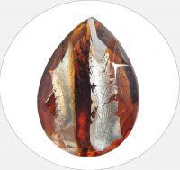 Skleněné kameny,  tm.topaz hruška 18x13mm, balení po 1ks