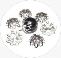 Iron beads caps - flower, silver, size 12x6mm, packing 20 pcs