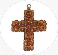 Šitý křížek - ručně šitý hnědý křížek z broušených korálků, 38x31mm, balení po 1 ks