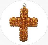 Šitý křížek - ručně šitý hnědý křížek z broušených korálků, 43x35mm, balení po 1 ks