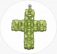 Šitý křížek - ručně šitý zelený křížek z broušených korálků, 43x35mm, balení po 1 ks