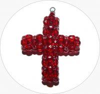 Šitý křížek - ručně šitý červený křížek z broušených korálků, 43x35mm, balení po 1 ks