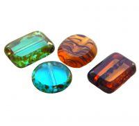 Korálky ploškované , tvary, mix barev, 9-12 x 8-10mm, balení 10 ks