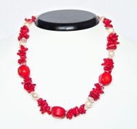 Coral necklace with pearls and crystal, 44 cm