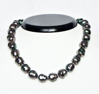 Necklace Tahiti glass pearls 13x12mm, length 39 cm