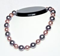 Two color pearl necklace 14mm, 12mm, length 40cm
