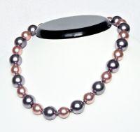 Perlový náhrdelník, dvoubarva, délka 40 cm, vel.14mm,12mm.
