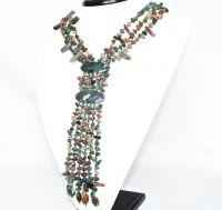 Náhrdelník z mixů polodrahokamů, třířadý, vícebarevný, délka 52 cm