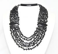 Black agate six row necklace 52 cm