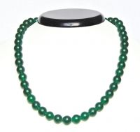 Dark green smooth round agate necklace 52 cm
