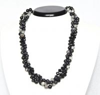 3row necklace agate and fire polished 55cm black
