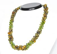 3row necklace agate and fire polished 55cm green