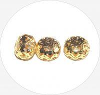 Kovové filigránové korálky - zploštělá kulička, zlatá, 18x25mm, balení po 2 ks