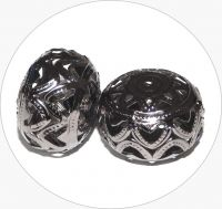Iron filigree beads - hollow bead, hematite, 18x25mm, packing 2 pcs