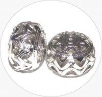 Iron filigree beads - hollow bead, platinum, 18x25mm, packing 2 pcs
