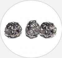 Iron filigree beads - hollow bead, hematite, 13x18mm, packing 3 pcs