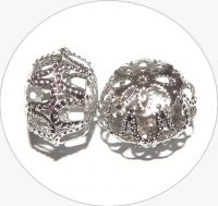 Iron filigree beads - hollow bead, platinum, 13x18mm, packing 3 pcs