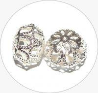 Iron filigree beads - hollow bead, silver, 13x18mm, packing 3 pcs