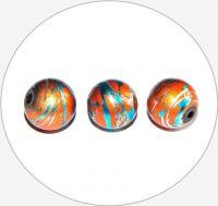 Akrylové korálky - postříbřené kuličky s barevným poprskem, 12mm, balení po 5 ks