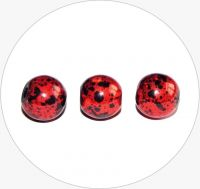 Acrylic beads - red with black, 12mm, packing 10 pcs