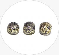 Acrylic beads - black with gold, 8mm, packing 20 pcs