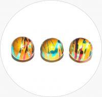 Akrylové korálky - žluté kuličky s barevným poprskem, 10mm, balení po 15 ks