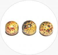 Akrylové korálky - žluté kuličky s barevným poprskem, 10mm, balení po 10 ks