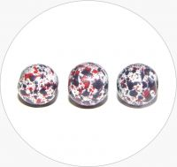 Acrylic beads - white with colours, 8mm, packing 15 pcs