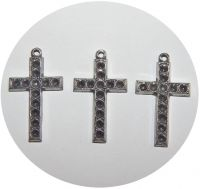 Pendant - cross with holes for chatons, antique silver, size 30x15mm, packing 2 pcs