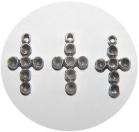 Pendant - cross with holes for chatons, antique silver, size 18x10mm, packing 4 pcs