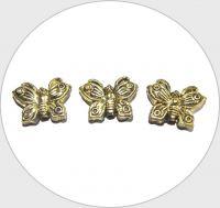Akrylové korálky - motýl, starozlato, 17x21mm, balení po 10 ks