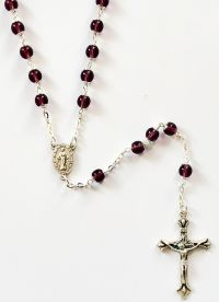 Catholic rosary 6mm round amy with caps