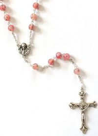 Catholic rosary 7mm rose lamp bead