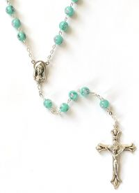 Catholic rosary 7mm green lamp bead