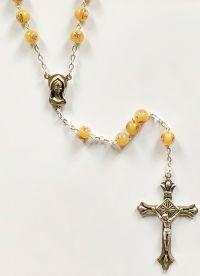 Růženec 7mm lampové perle žlutá
